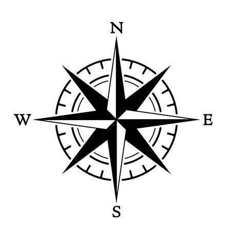 Brújula rosa de los vientos en estilo vintage. icono plano. ilustración vectorial aislado sobre fondo blanco Ilustración de vector