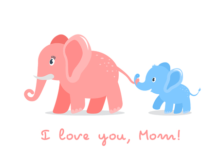 Funny character elephant son holds the tail of his mom. concept of love for parents and mothers day. flat vector illustration isolated on white background Illustration