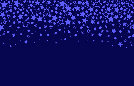 Endless texture of falling stars on blue background. Seamless pattern. flat vector illustration