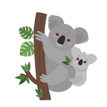 El koala divertido se queda con su bebé. tarjeta de felicitación para el día de la madre de vacaciones. ilustración vectorial plana aislada