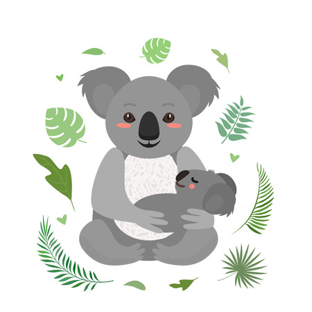 Funny koala keeps her baby. greeting card for the holiday mothers day. flat vector illustration isolated