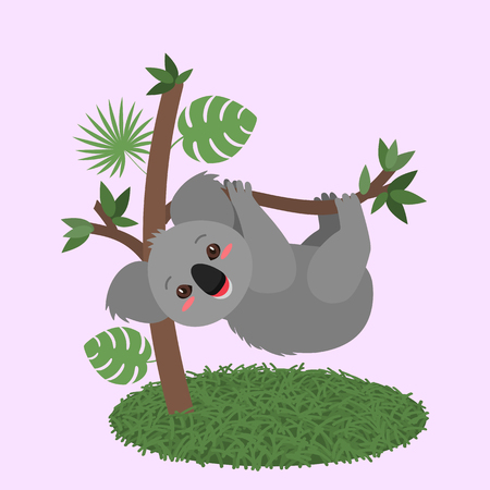 Funny koala baby hanging on a tree with leaves. flat vector illustration isolated