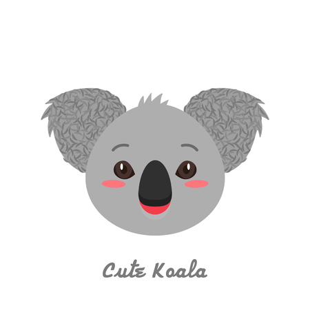 Funny and cute koala snout. childrens print. flat vector illustration isolated