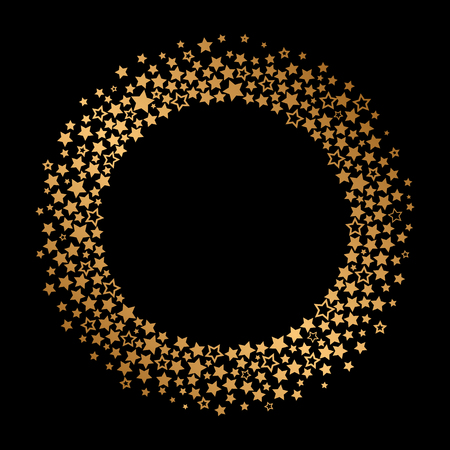 golden round frame of golden stars. flat vector illustration isolated Vektorgrafik