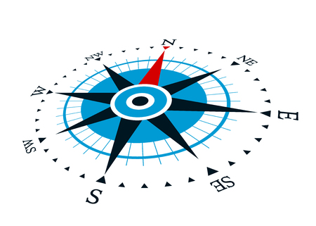 Compass wind rose in vintage style. flat icon. vector illustration isolated  イラスト・ベクター素材