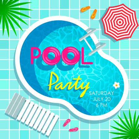 Bright poster invitation to a beach party by the pool. Top view of a swimming pool, parasol and sunbed. vector Ilustração