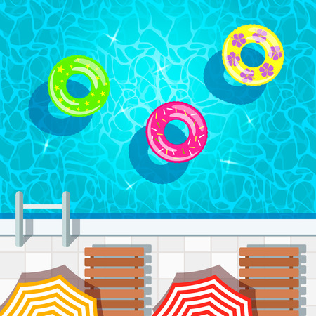 A vivid illustration of the water texture in a swimming pool with inflatable swimming circles. Top view of a swimming pool, parasol and sunbed. vector illustration 矢量图像