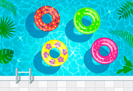 A vivid illustration of the water texture in the pool with inflatable circles for swimming top view. vector illustration Ilustração