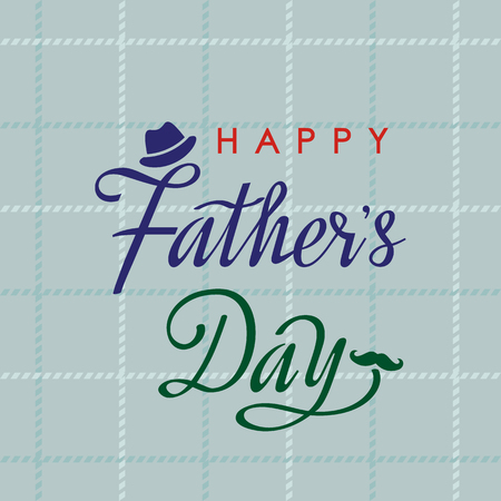 Happy Fathers Day greeting card with hand lettering on a checkered tissue background. flat vector illustration isolated