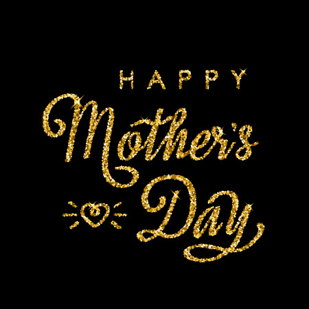 Handmade elegant golden inscription with glitter Happy mothers day on black background. Vector illustration isolated