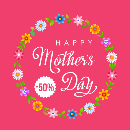 Bright spring poster sale gifts for mothers day. vector illustration