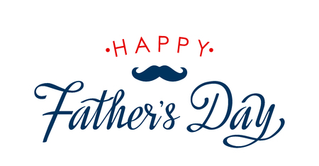 Happy Fathers Day greeting card with hand lettering on white background. flat vector illustration isolated Ilustração