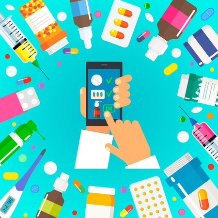 people buy medicines through the Internet. online pharmacy concept with home delivery. flat vector Stock Illustratie