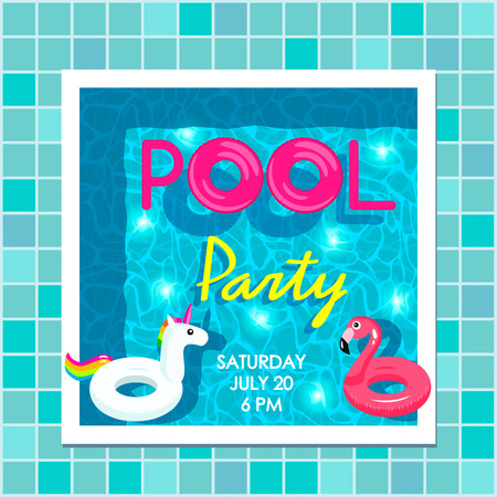 Bright poster invitation to a beach party by the pool. Top view of the pool, flamingo inflatable circles and a unicorn. vector illustration