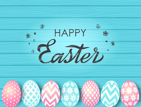 Easter greeting card with hand lettering, Easter eggs on a wooden background. vector