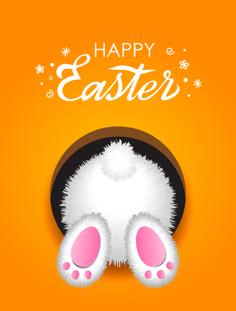 Greeting Easter card with hand lettering Happy Easter and white fluffy rabbit from the bottom in the hole. vector illustration