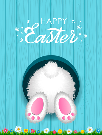 Congratulatory Easter card with a hand-written inscription Happy Easter and a white fluffy rabbit from below in a hole against the background of a wooden texture with green grass. vector