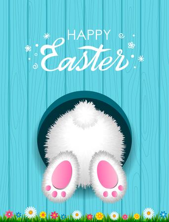Felicitatie Paaskaart met een handgeschreven inscriptie Happy Easter en een wit pluizig konijn van onderen in een gat tegen de achtergrond van een houten structuur met groen gras. vector