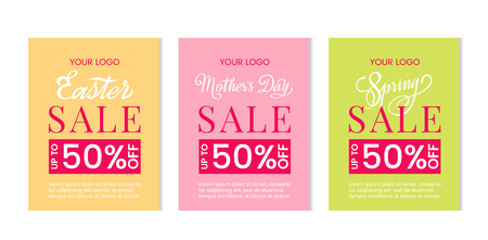 Bright set of discount templates for mothers day, easter sale and spring sales. Template for postcard, advertising, coupon, invitation, banner. vector