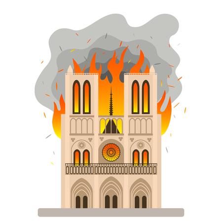 Das tragische Feuer im Visier von Notre Dame de Paris. Flamme in der Liebfrauenkathedrale. flache Vektorillustration