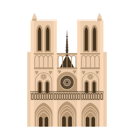 Landmark of France Notre Dame de Paris. Beautiful building of the Cathedral of Our Lady. flat vector illustration isolated Vectores