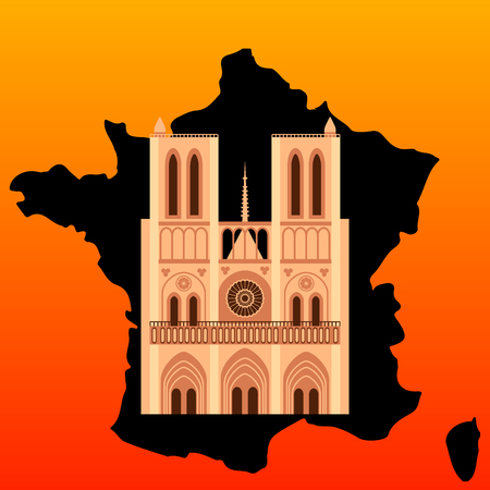 The tragic fire in the sights of Notre Dame de Paris. Flame in the Cathedral of Our Lady. flat vector illustration isolated Illustration