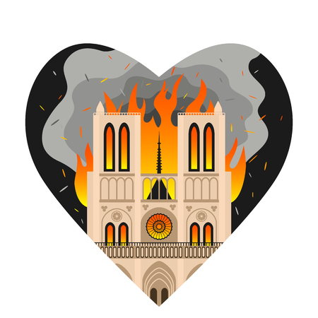 Notre Dame Cathedral burns in the heart of Parisians. Fire at Notre Dame de Paris. flat vector Illustration