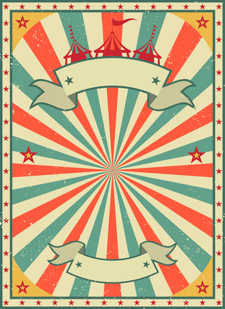 Old shabby American circus billboard in retro style. Vintage advertising poster with rays and aged background and ribbon. flat vector illustration
