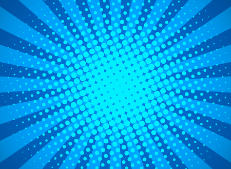 Retro pop art background with halftone dots and starburst rays. banner for comic book superhero. flat vector illustration Çizim