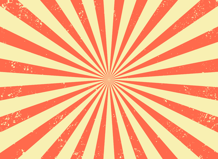 Old retro background with rays and explosion imitation. Vintage starburst pattern with bristle texture. Circus style. flat vector illustration Vektorové ilustrace