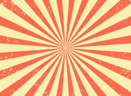 Vecchio sfondo retrò con raggi e imitazione di esplosione. Modello vintage starburst con trama di setole. Stile da circo. illustrazione vettoriale piatta Vettoriali