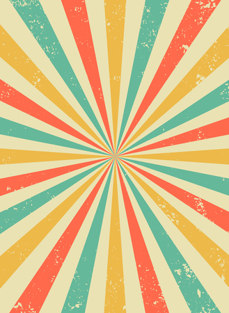 Vecchio sfondo retrò con raggi e imitazione di esplosione. Modello vintage starburst con trama di setole. Stile da circo. illustrazione vettoriale piatta
