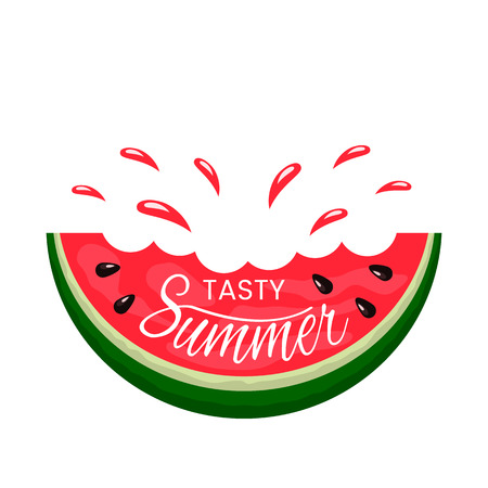 Juicy slice of watermelon bite with hand lettering Tasty summer. logo on a white background. flat isolated vector illustration