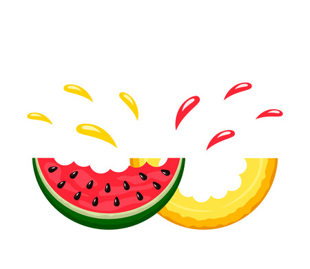 Juicy bite slices of watermelon and cantaloupe with a spray of juice. logo on a white background. flat isolated vector illustration for web and print