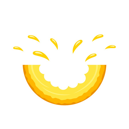 Juicy piece bite cantaloupe with splashes of juice. logo on a white background. flat isolated vector illustration for web and print Vectores