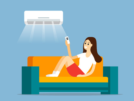 A young girl sits on the couch and turns on the air conditioner through the remote. Interior room with furniture and a bouquet of flowers. flat vector illustration isolated on lilac background in cart