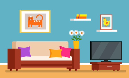 The mess in the room, dirty interior of the living room. cleaning concept for a cleaning company. flat vector illustration Illustration
