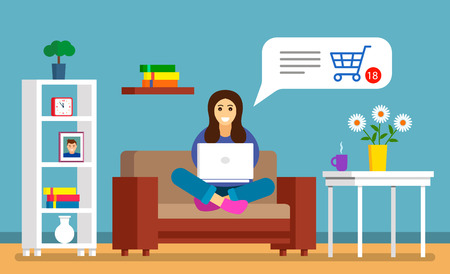 A beautiful young girl sits on the couch with a laptop and makes purchases online through a credit card. modern shrping. vector illustration Stock Illustratie