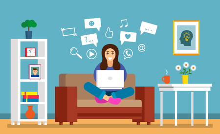 A beautiful young girl is sitting on the sofa with a laptop in a room for searching information on the Internet. The concept of modern man and the sensations of learning online. vector illustration