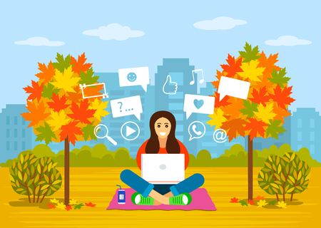 A beautiful young girl is sitting in a park in autumn with a laptop for searching information on the Internet. concept of modern man and communication, learning online. Illustration