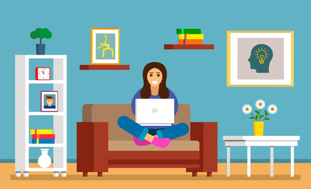 A beautiful young girl is sitting on the sofa with a laptop in a room for searching information on the Internet. The concept of modern man and the sensations of learning online. vector Ilustrace