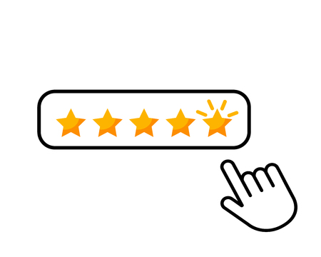 Click here hand icon button five stars consumer rating product review flat icon for applications and websites. vector illustration on white background Vettoriali