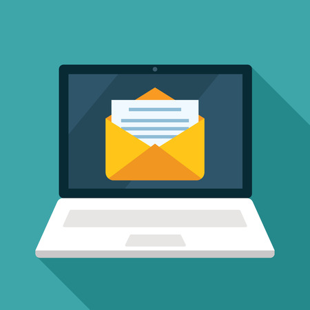 open work laptop with email icon, a letter arrived. flat vector illustration Çizim