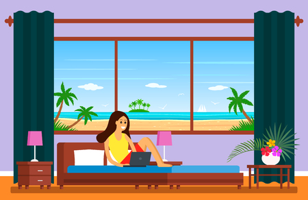 Five-star hotel room with panoramic window overlooking the beach. A young girl is sitting on a bed with a laptop. The concept of modern earnings for freelancers. vector Çizim