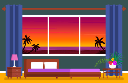 Modern hotel room suite with a panoramic window. Tropical ocean landscape with palm trees and seagulls. flat vector