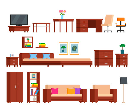 Large set of modular furniture from one collection. Bedroom, study, living room. flat vector isometric illustration isolated