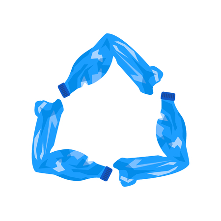 triangular sign of recycling garbage from used crumpled plastic bottles. flat vector illustration isolated Çizim
