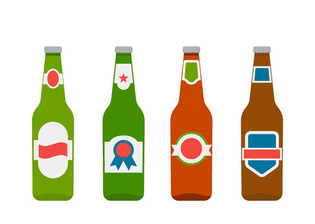 set of different beer bottles. icons in flat style. vector illustration