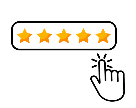 Click here hand icon button five stars consumer rating product review flat icon for applications and websites. vector illustration