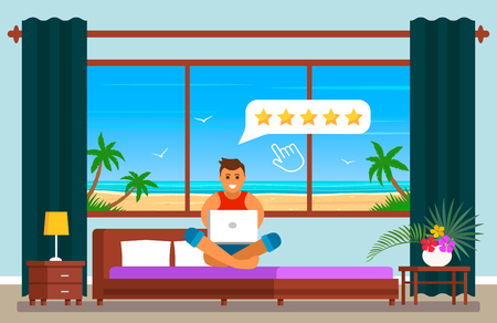 A young man on holiday in Egypt, in the hotel room rates the quality of service at the hotel for 5 stars. Positive feedback on the Internet. The concept of modern business. flat vector Çizim